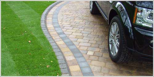 Close up of the tegula Kerb and border detail