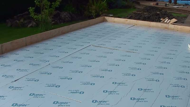 75mm thick kingspan insulation cut to size and placed to the total area of the floor