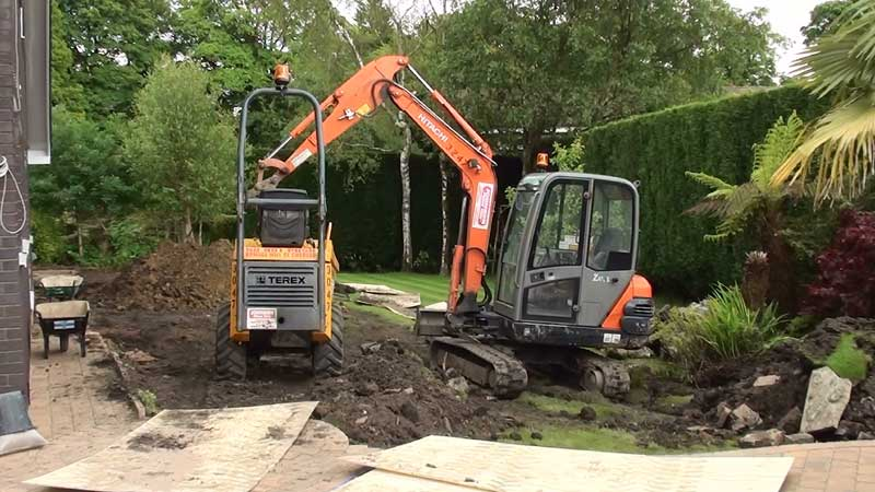 Removing the existing area of garden so the new extension and patio can be constructed