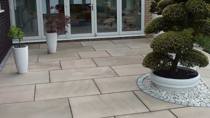 The Fairstone golden sand multi king size paving completed and pointed using Marshalls Weatherpoint 365