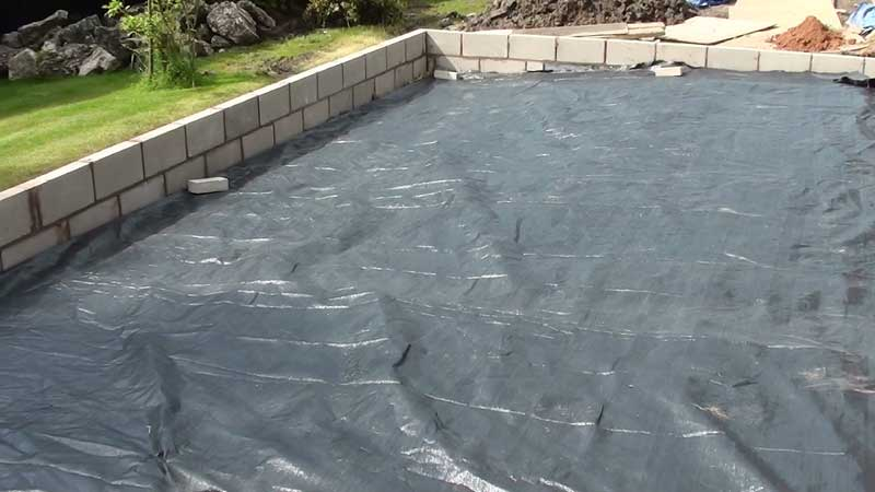 The total floor area was covered with a geotextile membrane due to the amount of small roots left in the ground from the plants which we removed, this membrane will stop any roots from growing