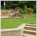 Garden patio and retaining wall