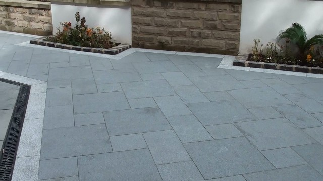 The finished Marshall's Eclipse Granite garden patio
