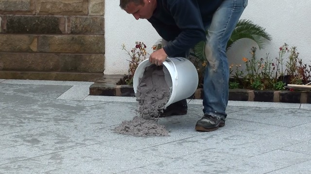 Jointing the Marshall's Eclipse Granite Patio