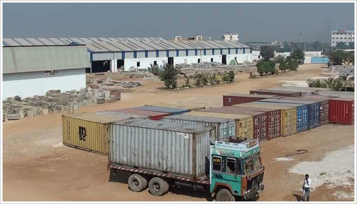 The steel containers are loaded and sealed within the Stoneshippers premises and transported to the ICD,(the Inland Container Depot) where stone for export is loaded onto rail transporters and taken to the Port of Mundra for sailing to the UK