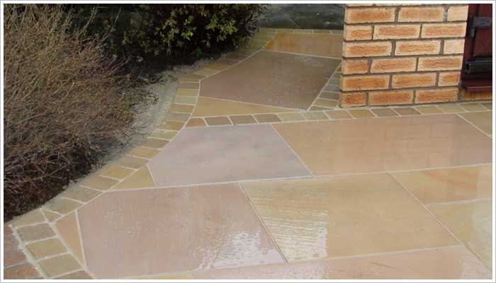 This is an example of the Fairstone Sawn Golden Sand I laid four years ago with a more vibrant blend of colours