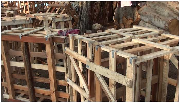 Crates manufactured from illegal timber destined for the UK marketplace