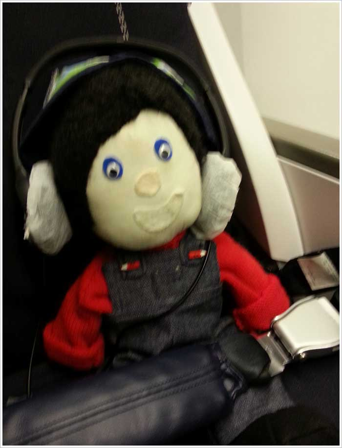 Reg the Marshalls register mascot on the plane