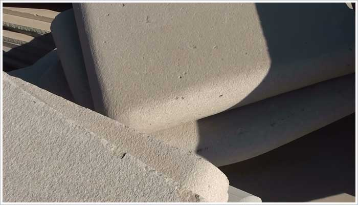 Fairstone bull nose step units with surface defects and chipped edges are also cast aside and destined for the reject corner. In the grand scale of things the amount of reject product in this corner of the factory yard is nominal when you take into account the amount of product they produce